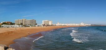 Vilamoura, Portugal - panoramic view of the Vilamoura beach as seen from the pier stock photography