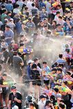 April 15, 2017, Thailand, Bangkok: Songkran Festival, people having hun pouring water in the crowd royalty free stock photo