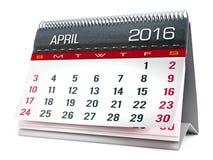 April 2016 Tischplattenkalender Lizenzfreies Stockbild