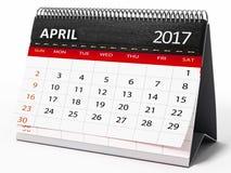 April 2017 Tischplattenkalender Abbildung 3D Stock Abbildung