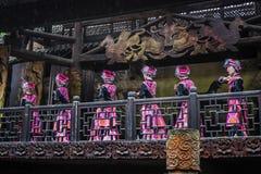 Tujia girl dancing welcoming royalty free stock photo