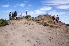 April 19, 2017, turister på överkanten av det högsta madeiraberget, Pico Ruivo, soligt väder, stor dag för att fotvandra, madeira Arkivfoton