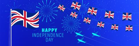 April 23 UK Independence Day greeting card.  Celebration background with fireworks, flags, flagpole and text. Vector illustration royalty free illustration