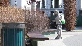 April 5, 2020 Ukraine, Irpin: National Guard servicemen dispose of benches in crowded places to counteract the spread of coronavir