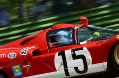 21 April 2018: Unknow drive Ferrari 512 S Coda Lunga prototype during Motor Legend Festival 2018. At Imola Circuit in Italy royalty free stock photos