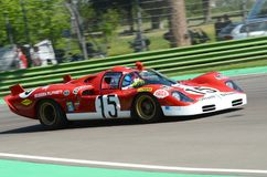 21 April 2018: Unknow drive Ferrari 512 S Coda Lunga prototype during Motor Legend Festival 2018 at Imola Circuit. In Italy royalty free stock photography
