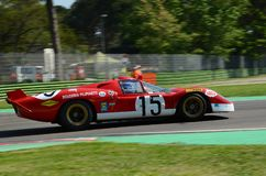 21 April 2018: Unknow drive Ferrari 512 S Coda Lunga prototype during Motor Legend Festival 2018 at Imola Circuit. In Italy royalty free stock photo