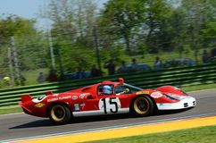 21 April 2018: Unknow drive Ferrari 512 S Coda Lunga prototype during Motor Legend Festival 2018 at Imola Circuit. In Italy royalty free stock image