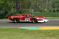21 April 2018: Unknow drive Ferrari 512 S Coda Lunga prototype during Motor Legend Festival 2018. At Imola Circuit in Italy royalty free stock photo