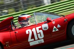 21 April 2018: Unknown drive Alfa Romeo 33 `Periscopica` Spider during Motor Legend Festival 2018 at Imola Circuit. In Italy royalty free stock images