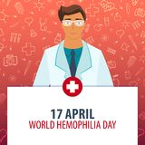 17 April Världsblödarsjukadag Medicinsk ferie Vektormedicinillustration Arkivbild