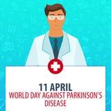 11 April Världsdag mot den Parkinsons sjukdomen Medicinsk ferie Vektormedicinillustration royaltyfri illustrationer