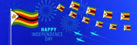 18april van de de Onafhankelijkheidsdag van Zimbabwe de groetkaart Vieringsachtergrond met vuurwerk, vlaggen, vlaggestok en teks royalty-vrije stock foto