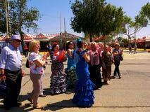 April van Sevilla Spain/1Seville Spanje/16 2013/Toerist en plaatselijke bewoners stock foto