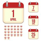 April vector calendar icons Stock Photo