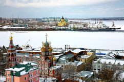 April view Stroganov church and Cathedral Nevsky Royalty Free Stock Photography