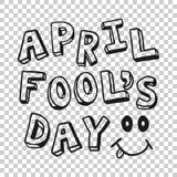 April voor de gek houdt het pictogram van de dagtekst in transparante stijl Gelukkige banner vectorillustratie op ge?soleerde ach royalty-vrije illustratie