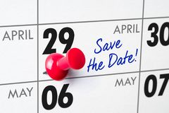 April 29. Wall calendar with a red pin - April 29 Stock Photography