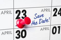 April 23. Wall calendar with a red pin - April 23 Stock Photos