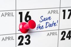 April 16. Wall calendar with a red pin - April 16 Stock Image