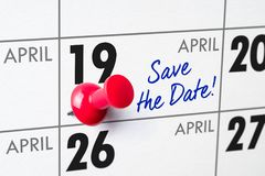 April 19. Wall calendar with a red pin - April 19 stock image