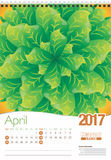 April wall calendar 2017 template with abstract floral design, ready for printing. Size: 297mm x 420mm. Format vertical. English version Royalty Free Stock Image