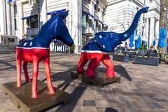APRIL 11, 2018 - WASHINGTON DC - Democratic Mule and Republican Elephant statues symbolize. Republican, united. APRIL 11, 2018 - WASHINGTON DC - Democratic Mule stock images