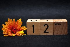 12 April on wooden blocks with an orange daisy. On a black background royalty free stock photo