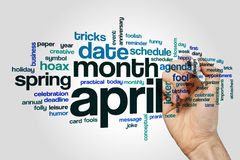 April word cloud concept on grey background.  royalty free stock image