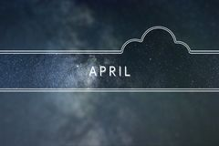 APRIL word cloud Concept. Space background. stock photo