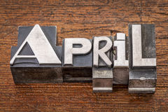 April word in metal type Royalty Free Stock Photography