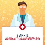 2 April. World Autism Awareness Day. Medical holiday. Vector medicine illustration. 2 April. World Autism Awareness Day. Medical holiday. Vector medicine Stock Photos
