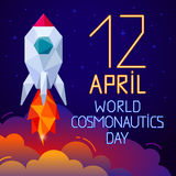 12 April World Cosmonautics Day Fahne Stockfotografie