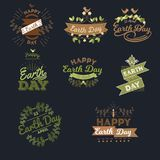 April 22 World Earth Day. logotypes set for greeting cards or banner with text and fonts lettering in retro hipster. Style vector illustration Royalty Free Stock Photography