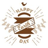 April 22 World Earth Day. logotypes set for greeting cards or banner with text and fonts lettering in retro hipster. Style vector illustration Stock Images