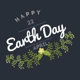 April 22 World Earth Day. logotypes set for greeting cards or banner with text and fonts lettering in retro hipster. Style vector illustration Stock Photo