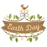 April 22 World Earth Day. logotypes set for greeting cards or banner with text and fonts lettering in retro hipster. Style vector illustration Stock Photos