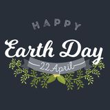 April 22 World Earth Day. logotypes set for greeting cards or banner with text and fonts lettering in retro hipster. Style vector illustration Stock Photography