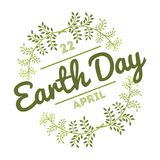 April 22 World Earth Day. logotypes set for greeting cards or banner with text and fonts lettering in retro hipster. Style vector illustration Royalty Free Stock Images