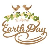 April 22 World Earth Day. logotypes set for greeting cards or banner with text and fonts lettering in retro hipster. Style vector illustration Royalty Free Stock Photos