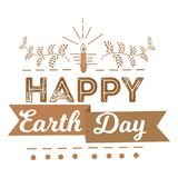 April 22 World Earth Day. logotypes set for greeting cards or banner with text and fonts lettering in retro hipster. Style vector illustration Royalty Free Stock Image