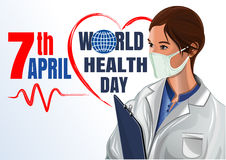 April 7. World Health Day card with woman medic. World Health Day card with woman medic. April 7. Medical background. Vector illustration Royalty Free Illustration
