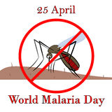 25 April world malaria day. The mosquito drinks the blood vector illustration. Vector control malaria Stock Photos