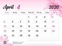 April 2020 Year Template, Calendar 2020 Vector, Desk Calendar Design, pink flower concept for cosmetics, beauty, spa, business. Week Start On Sunday, Planner stock illustration