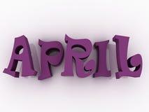 April-Zeichen mit Farbe Illustration des Papiers 3d Lizenzfreie Stockbilder