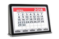 Aprile 2018 calendario digitale, rappresentazione 3D Immagine Stock Libera da Diritti