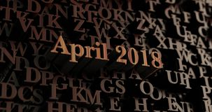 Aprile 2018 - 3D di legno ha reso le lettere/messaggio Fotografia Stock Libera da Diritti
