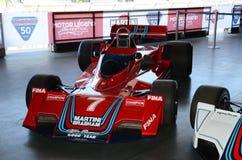 21 aprile 2018: F1 le automobili storiche Brabham BT45 sponsorized correndo di Martini esposta al festival 2018 di leggenda del m fotografie stock libere da diritti