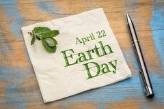 22 aprile giornata per la Terra sul tovagliolo Fotografia Stock
