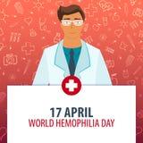 17 aprile Giorno di emofilia del mondo Festa medica Illustrazione della medicina di vettore Fotografia Stock